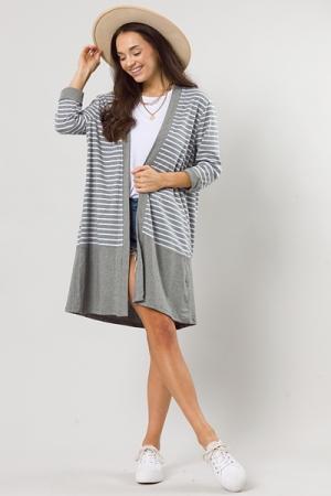 Two-Tone Stripe Cardi, Grey