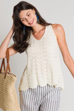 Crochet Sweater Tank, Cream