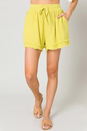 Fray Leg Puffed Shorts, Lemon