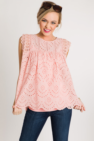 Eyelet Scallop Edge Top, Pink