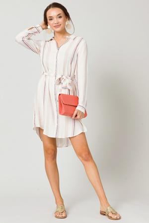 Belted Shirt Dress, Natural Stripe