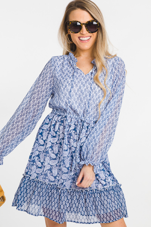 Indigo Paisley Dress