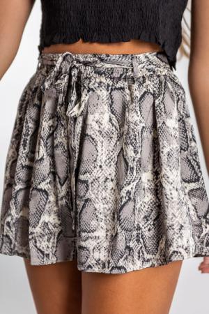 Grey Snake Silky Shorts