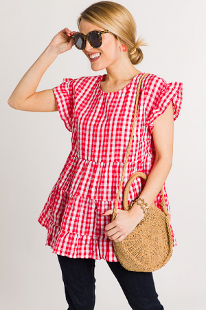 Tiered Gingham Top, Tomato