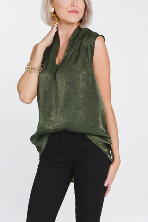 Satin Sleeveless Tank, Olive