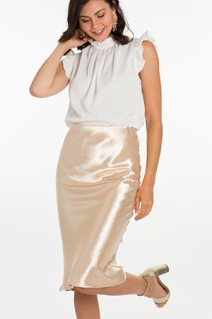 Crinkled Satin Midi Skirt, Gold