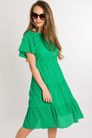 Kelly Eyelet Dress, Green