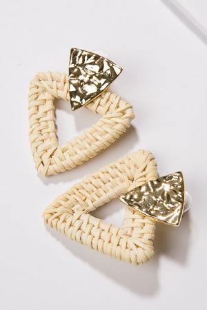 Rattan Triangle Earrings