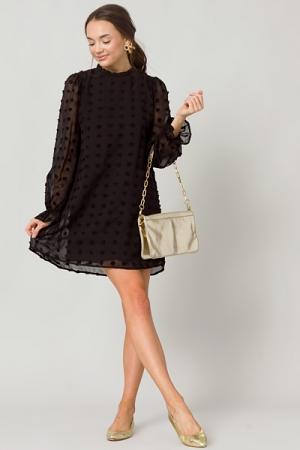 Solid Dimensional Dress, Black