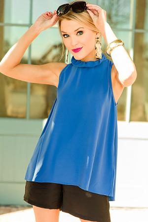 Eloise Ruffle Bow Top, Blue