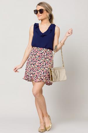 Rosa Floral Skirt, Navy