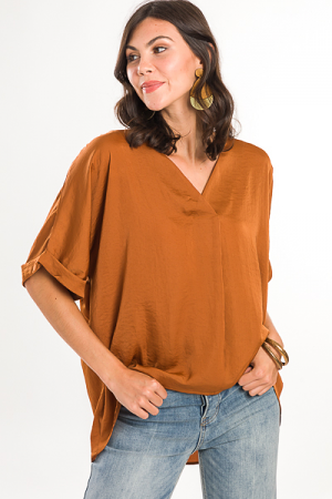 Satin Feel Pleat Blouse, Camel