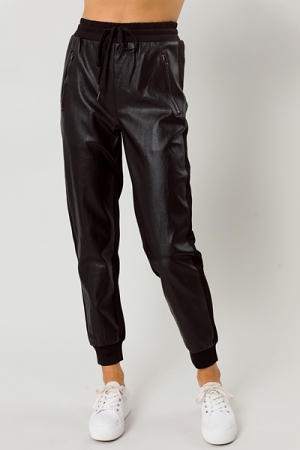Leather Front Joggers, Black