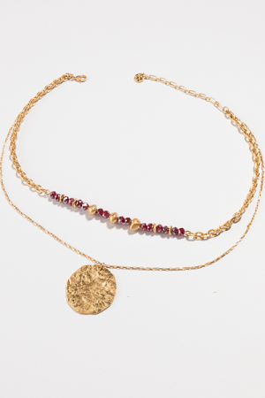 Bead Disc Layers Necklace, Wine