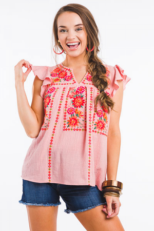 Split Neck Embroidery Top, Blush