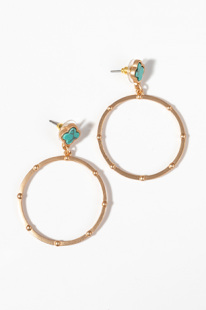 Clover Post Earring, Turquoise