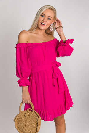 Laci Off Shoulder Dress, Hot Pink