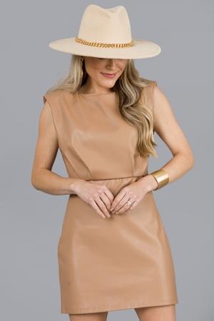 Leather Sheath Dress, Latte
