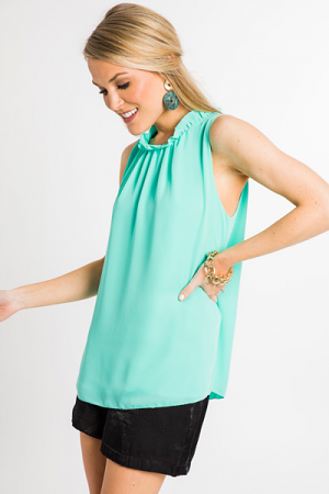 Mint Mock Neck Tank
