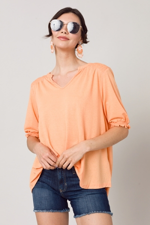 Stretchy Smocked Top, Tangerine