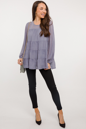 Woven Tiered Blouse, Grey