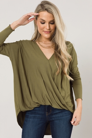 Wrap Front Knit Top, Olive