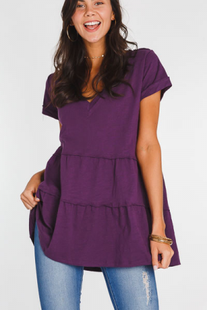 Cotton Tiered V Neck, Grape