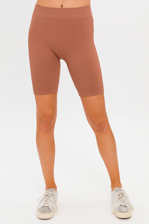 Ribbed Biker Short, Cognac