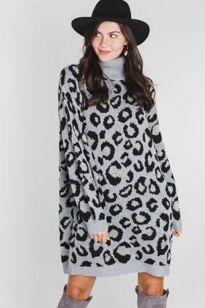 Grey Leopard Sweater Dress