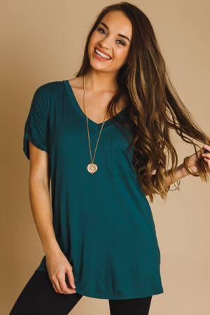 Jersey Pocket Tee, Hunter Green