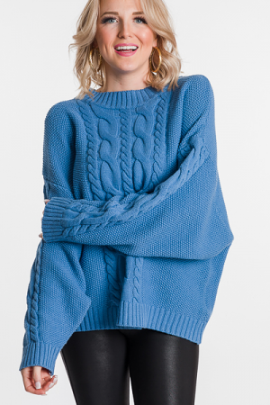 Kristin Cable Sweater, Blue