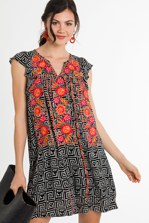 Geometric Embroidery Dress, Black