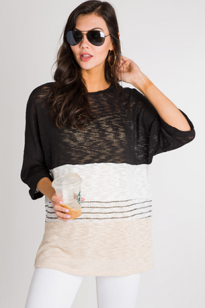 Neutral Knit Colorblock Tunic
