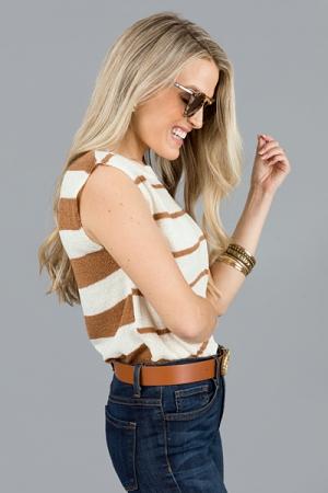 Stripes Sweater Tank, Light Brown