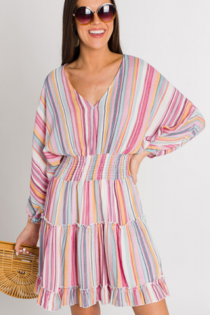 Candy Stripes Tiered Dress
