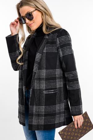 Plaid Lines Coat, Black