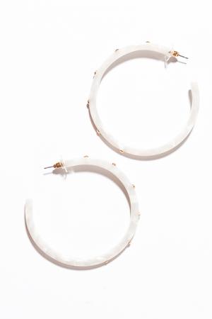 Studded Resin Hoop Earring, White