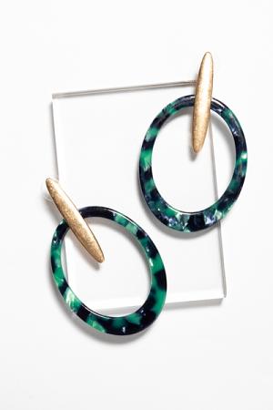 Green Spear Post Earrings