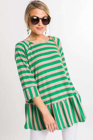 Green Stripes Peplum Tunic
