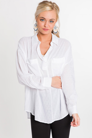 Patch Pocket Blouse, White