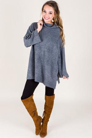 High Collar Sweater, Grey