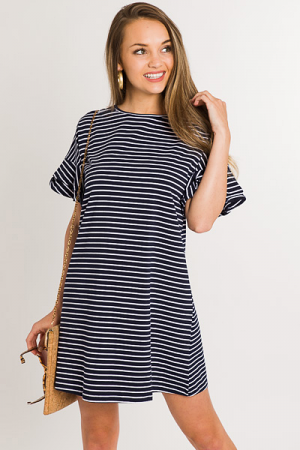Double Ruffle Stripe Dress