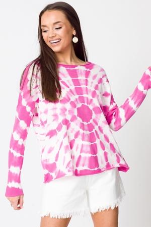 Color Burst Sweater, Hot Pink