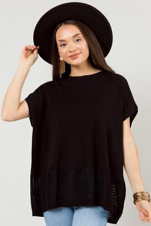 Crochet Hem Sweater, Black
