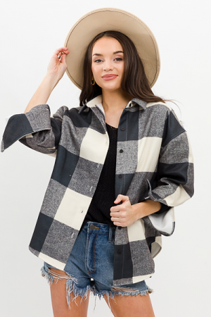 Sam Plaid Shacket, Grey/Sand