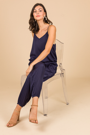 Silky Jogger Jumpsuit, Navy