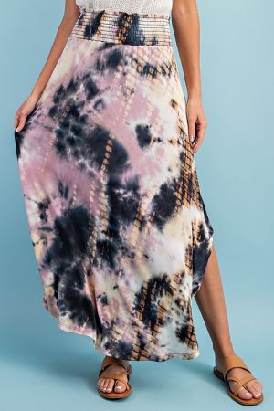 Smock Midi Skirt, Mauve Tie Dye