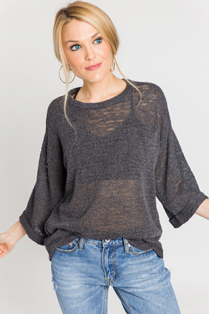 Rolled Sleeve Knit Top, Charcoal