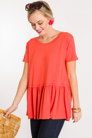 Bethany Babydoll Top, Coral
