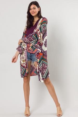 Embroidered Edge Kimono, Plum